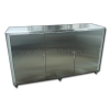 Counters, cabinets, stainless steel storage.